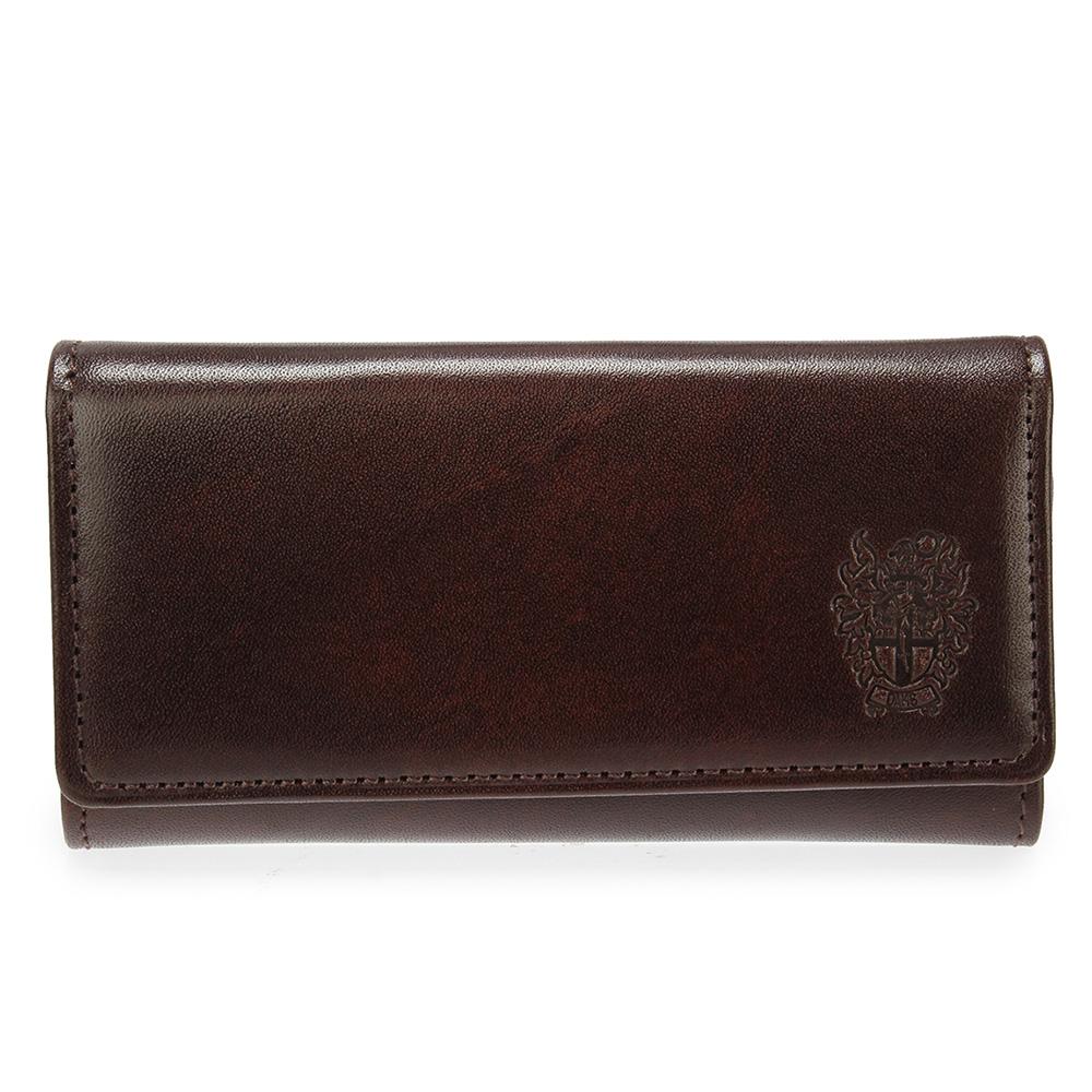 DAKS 經典皇家徽章素面鑰匙鎖包-咖啡色