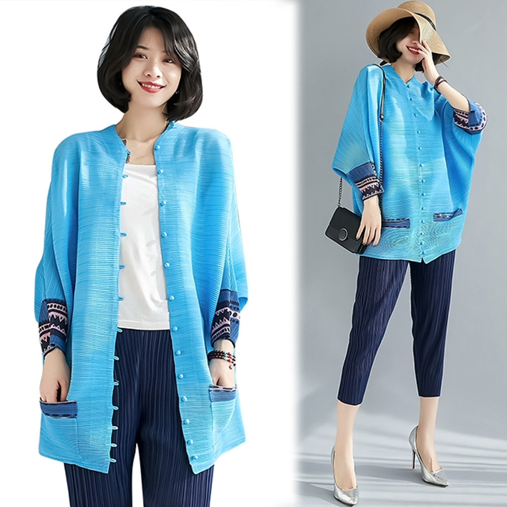 【KEITH-WILL】(預購)爆推甜美氛圍壓褶外套(共3色) (天藍色)