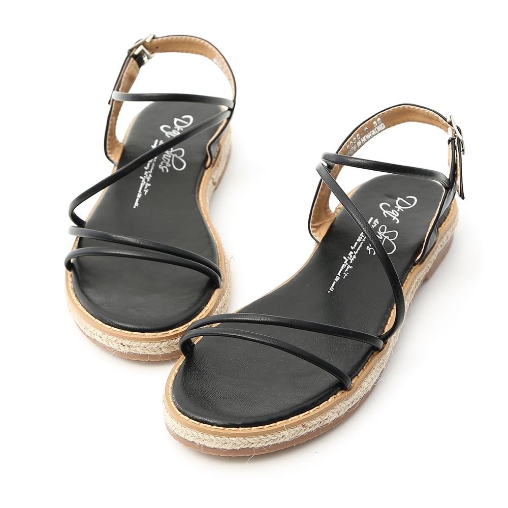 D+AF 愜意氣息.精緻細帶平底草編涼鞋*黑