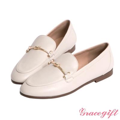 Grace gift-金屬扭結平底樂福鞋 米白