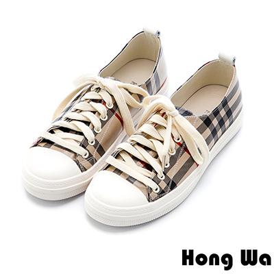 Hong Wa 經典格紋牛皮綁帶休閒鞋 - 咖啡