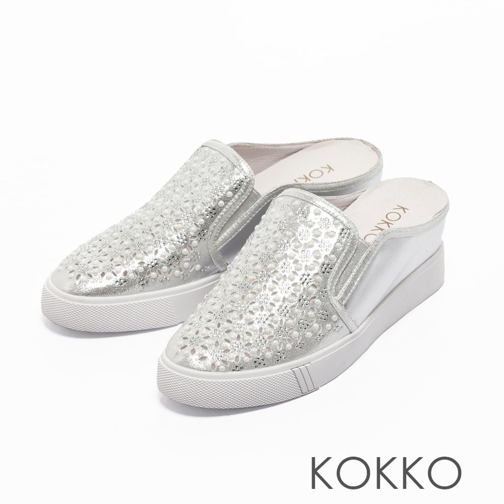 KOKKO -華麗巴洛克真皮內增高穆勒鞋-珍珠銀
