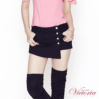 Victoria 黑色排釦一片式褲裙-女-黑色