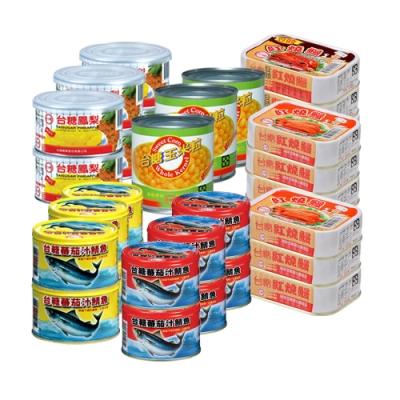 台糖 罐頭超值10件組(蕃茄汁鯖魚黃罐/蕃茄汁鯖魚紅罐/玉米粒/鳳梨罐/紅燒鰻/豆豉紅燒鰻)