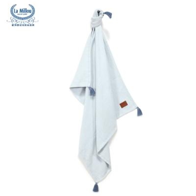 【La Millou】 Tender 100%純棉針織毯(民族風)93x100cm-天空藍-嬰兒毯
