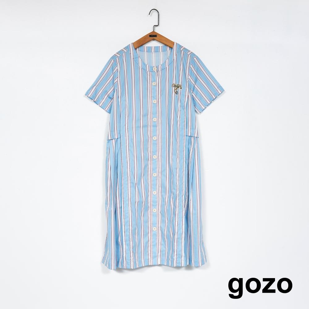 gozo-幾何臉譜條紋襯衫洋裝(二色)