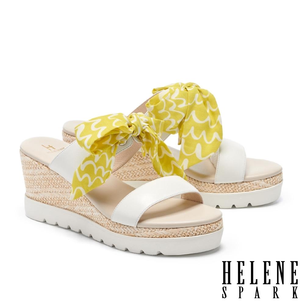 拖鞋 HELENE SPARK 盛夏風情花布羊皮楔型厚底拖鞋-白