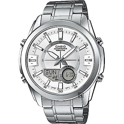 CASIO 卡西歐 10年電力 世界時間雙顯手錶-銀(AMW-810D-7A)