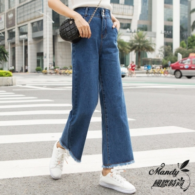 Mandy國際時尚 牛仔長褲 秋 韓系高腰寬鬆直筒牛仔寬褲(2色)
