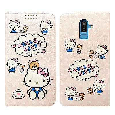 Hello Kitty貓 Samsung Galaxy J8 粉嫩系列彩繪磁力皮...