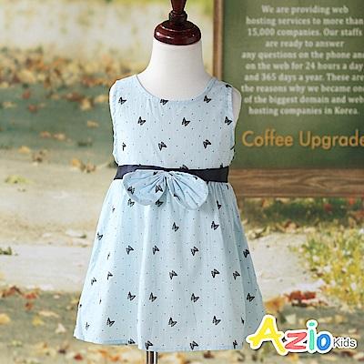 Azio Kids 洋裝 點點蝴蝶綁帶無袖洋裝(藍)