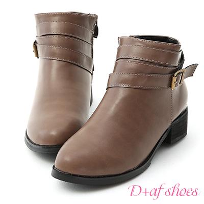 D+AF 獨特百搭.層次感釦環帶低跟短靴*灰棕