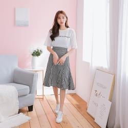 SUPER COLOR 白色英文印花Tee+魚尾裙洋裝套裝