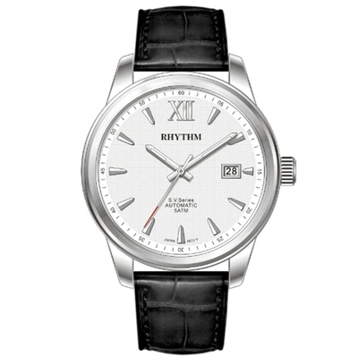 RHYTHM日本麗聲 城市美學低調時尚自動機械腕錶VA1503L01-銀/42mm
