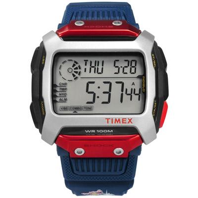 TIMEX 天美時 Red Bull限量聯名INDIGLO橡膠手錶-銀x紅黑x藍/54mm