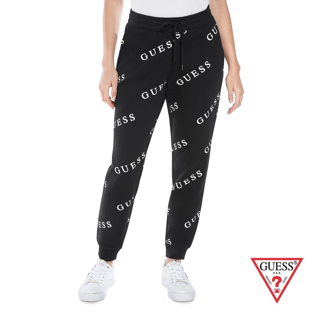 GUESS-女裝-滿版LOGO運動束口褲-黑 原價2490