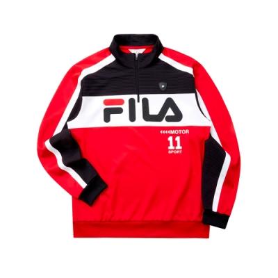 FILA 男吸濕排汗半門襟T恤-紅色 1TET-5472-RD