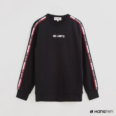 Hang Ten - 男裝 - 撞色拼接字母條紋棉質圓領上衣- 藍