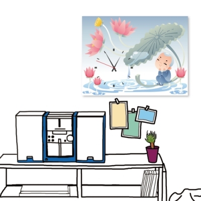 24mama掛畫 單聯式 現代時鐘掛畫/無框畫 30x40cm-荷塘小和尚