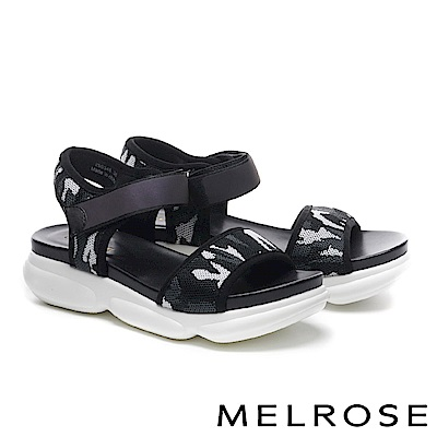 涼鞋 MELROSE 個性潮感一字迷彩網布老爹厚底休閒涼鞋-白