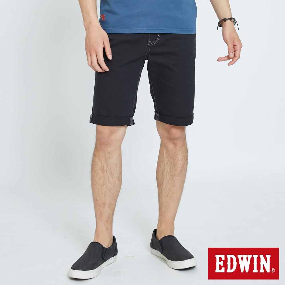 EDWIN 大尺碼503休閒基本五袋短色褲-男-黑色
