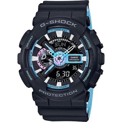 G-SHOCK 派對主題色彩雙顯腕錶-霓虹藍(GA-110PC-1A)/51mm