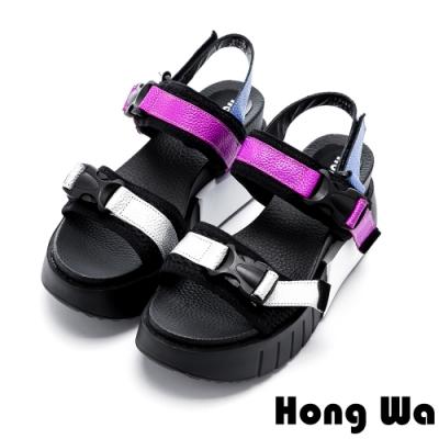 Hong Wa 撞色拼接牛皮快扣厚底涼鞋 - 紫黑