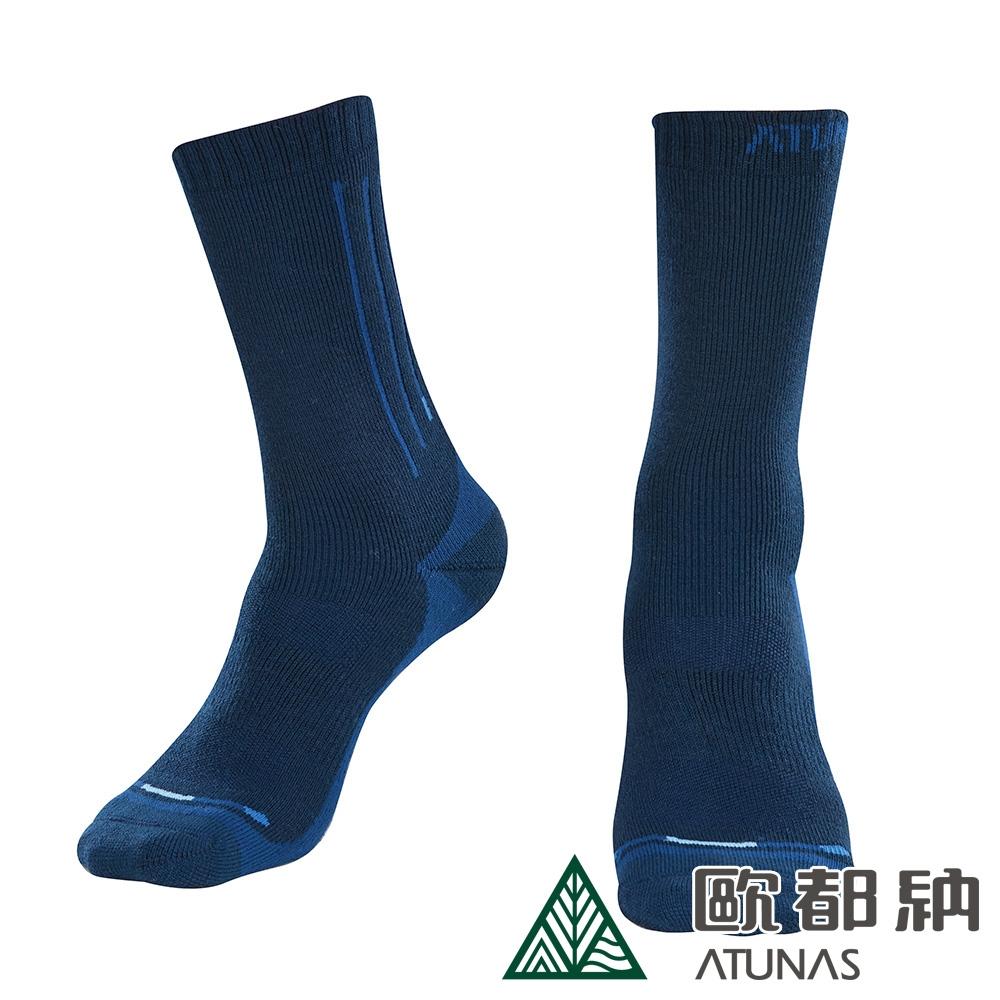 【ATUNAS 歐都納】中筒羊毛登山襪A1ASCC01N深藍/吸濕排汗/保暖舒適