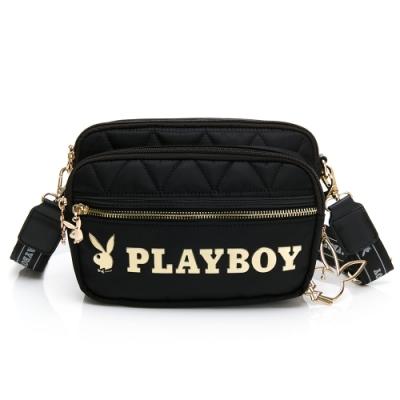 PLAYBOY-  斜背包可做腰包及單肩背 金典小兔系列 -黑色