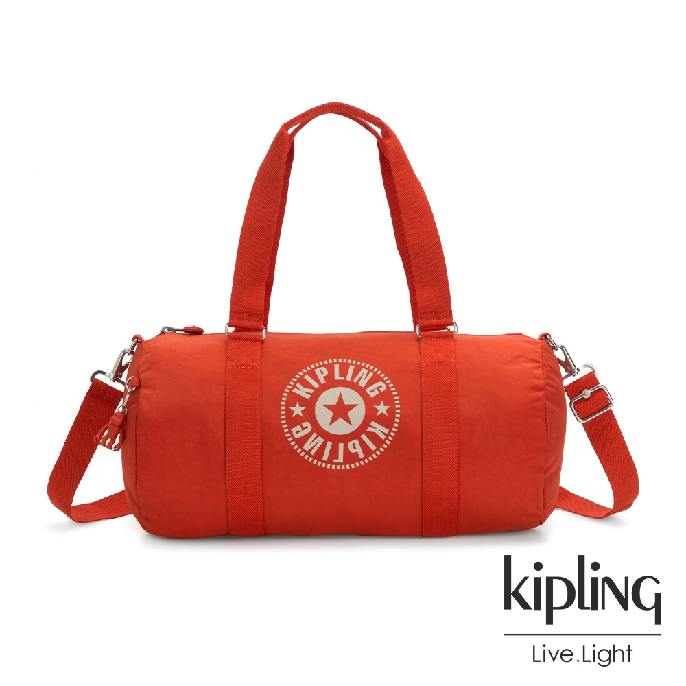 Kipling 熱情太陽橘經典LOGO圓筒旅行袋-ONALO