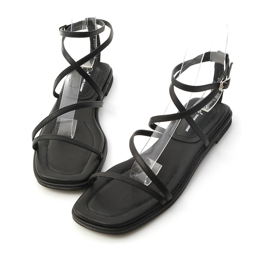 D+AF 自信步調.層次感交叉平底涼鞋*黑