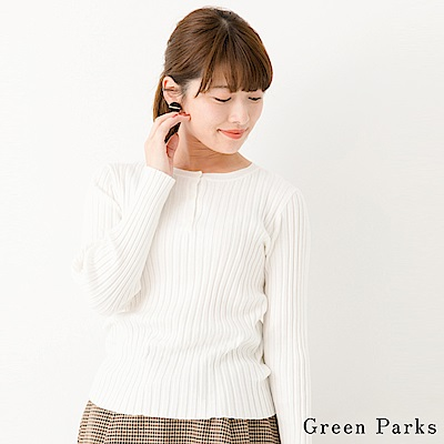 Green Parks 直條紋路鈕扣圓領針織上衣