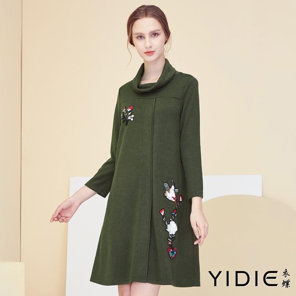 【YIDIE衣蝶】中國風粉林鳥刺繡短洋裝-綠