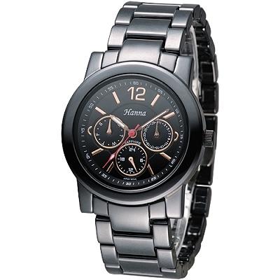 Hanna 巴黎時尚全日曆黑陶瓷腕錶-金刻(H6941G-VX3J-1)/38mm