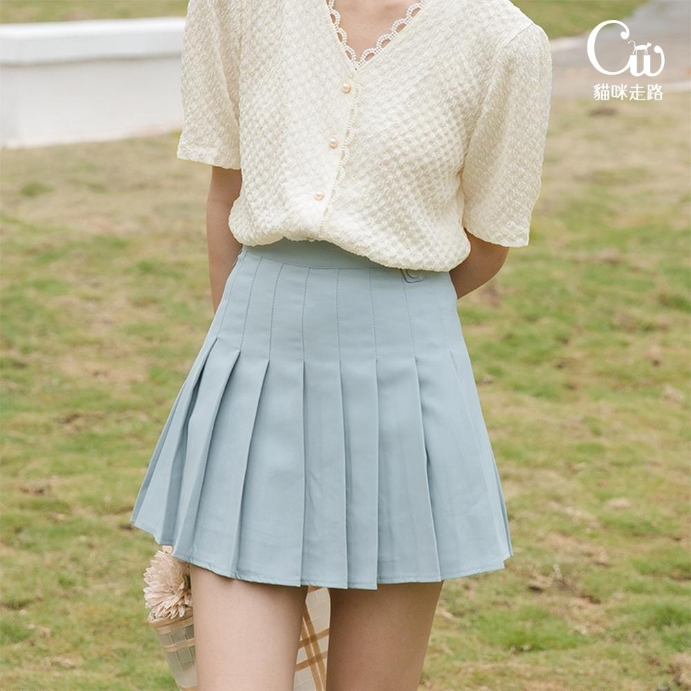 [CW.貓咪走路]韓版學院風氣質百褶短裙(KDS-11016) (藍色)