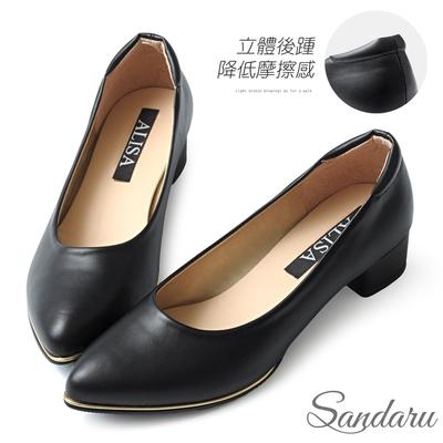 山打努SANDARU-OL工作鞋 日常3.5cm金屬滾邊尖頭低跟鞋-黑