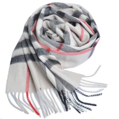 BURBERRY 經典大格紋喀什米爾羊毛圍巾(石色系/168x30)