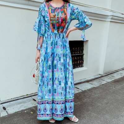 浪漫波西米亞度假復古印花設計款洋裝S-XL(共二色)-維拉森林