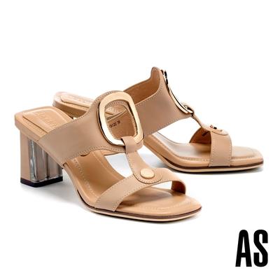 拖鞋 AS 時髦金屬風鏤空圓釦工字全真皮方頭高跟拖鞋-米
