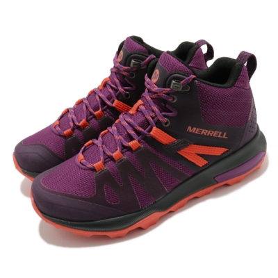 Merrell 戶外鞋 Zion FST Waterproof 女鞋 登山 越野 中筒 防水 避震墊片 膠底 紫 橘 ML035402