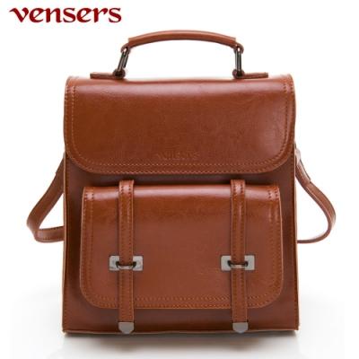 【vensers】小牛皮潮流個性包~多功能後背包/斜背包(NL1080101棕色)