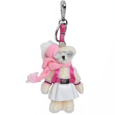 PRADA TRICK ORSETTO 時尚背包圍巾造型小熊吊飾/鑰匙圈(米色/桃粉配件)