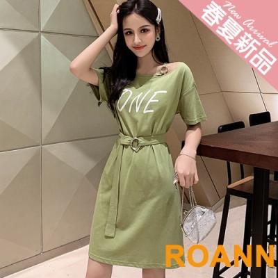小清新圓領ONE印花短款洋裝 (共二色)-ROANN