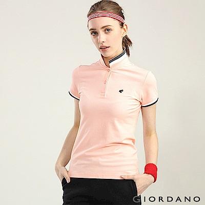 GIORDANO女裝經典撞色立領青蛙刺繡POLO衫-35薄紗粉紅