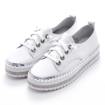 Camille's 韓國空運-正韓製-牛皮鑽條綁帶厚底懶人休閒鞋-白色