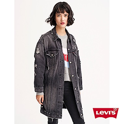 Levis 女款 牛仔外套 長版Oversize 黑灰破壞