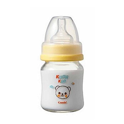 Combi Kuma Kun 小熊寬口玻璃奶瓶 (黃-120ml-圓孔S)