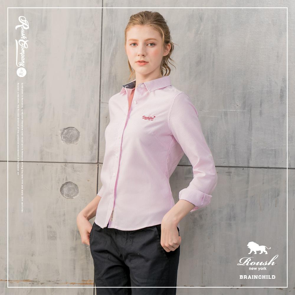 ROUSH 女生腰身版牛津布條紋襯衫(2色)