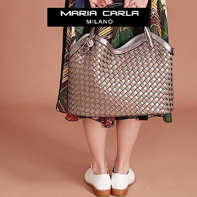 Maria Carla手提測背包-牛皮編織包_雙色特殊款_完美格調、迷漾輕時尚系列(香檳金