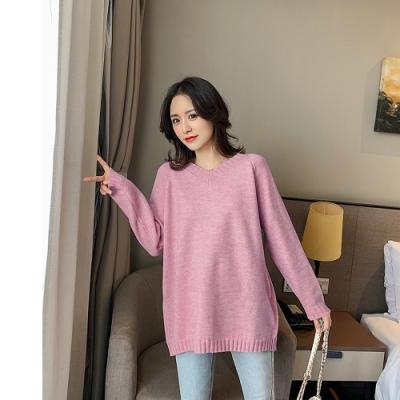 2F韓衣-韓系V領寬鬆素面螺紋造型上衣-桃粉F